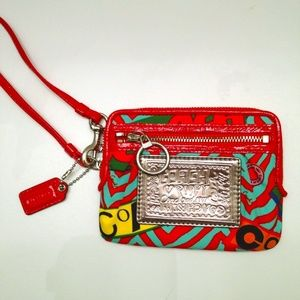 COACH POPPY RARE sateen wristlet wallet